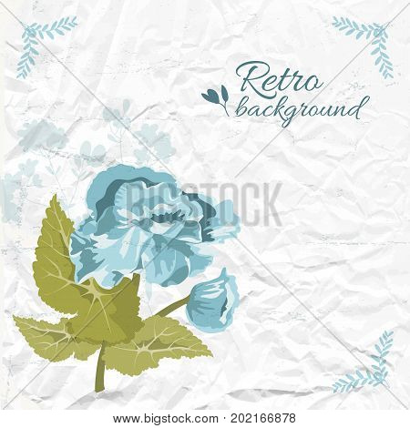 Retro natural template with inscription blue flower green leaves on wrinkled paper vector illustration