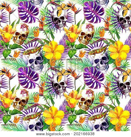 Human skulls, tropical leaves, wild animals and exotic flowers. Repeating pattern. Watercolor