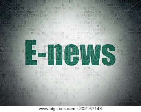 News concept: Painted green word E-news on Digital Data Paper background