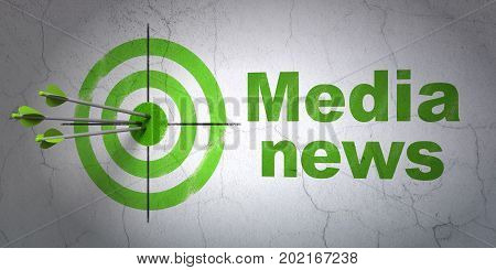 Success news concept: arrows hitting the center of target, Green Media News on wall background, 3D rendering