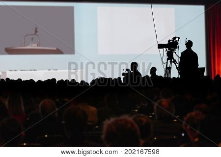 Conference Production Cameraman Silhouette. Clipping Path