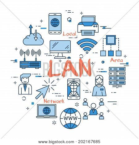 Vector red LAN word with blue linear icons on white background. Round web banner. Concept of local area network, internet connection and computer using