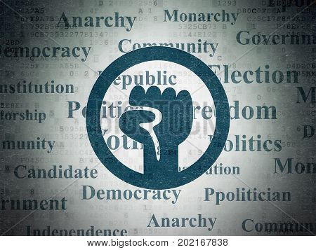 Political concept: Painted blue Uprising icon on Digital Data Paper background with  Tag Cloud