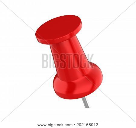 Red Push Pin isolated on white background. 3D render