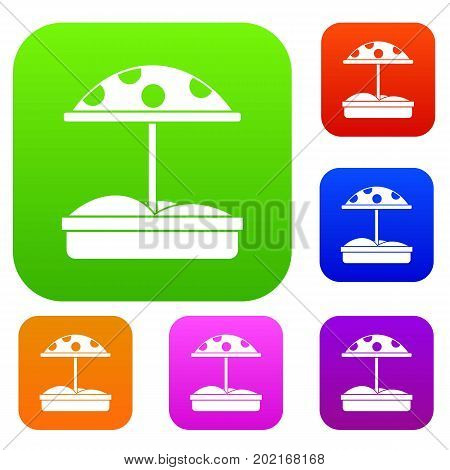 Sandbox with dotted umbrella set icon in different colors isolated vector illustration. Premium collection