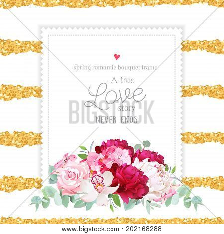 Elegant burgundy red, pink and white peonies, alstroemeria lily, eucalyptus leaves square vector frame. Striped gold glitter backdrop. All elements are isolated and editable.