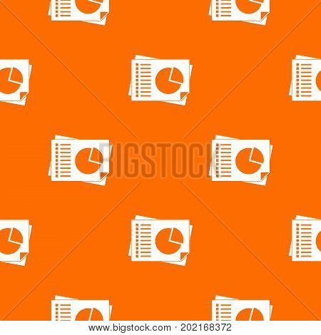 Sheets of paper with charts pattern repeat seamless in orange color for any design. Vector geometric illustration
