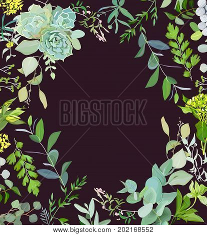 Herbal mix square vector frame. Hand painted plants, branches, leaves, succulents and flowers on black background. Echeveria, eucalyptus, green hygrangea, brunia. Natural card design.