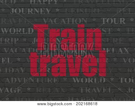 Tourism concept: Painted red text Train Travel on Black Brick wall background with  Tag Cloud