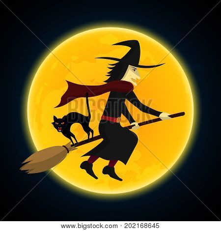 Halloween Witch Flying On Broom Growl Black Cat