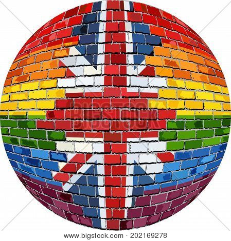 Ball with Great Britain and Gay flags - Illustration,  Abstract grunge United Kingdom flag and LGBT flag in brick style