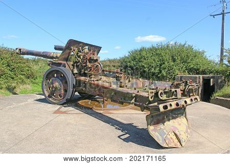 Field gun from the second world war in Normandy