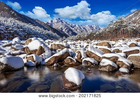 Seoraksan mountains is covered by snow in winter South Korea.