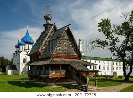 The wooden Church of St. Nicholas from the village Glotovo in the Kremlin of Suzdal - a monument of wooden architecture of the mid-eighteenth century. Suzdal, Golden Ring, Russia