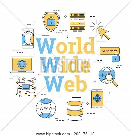 Vector linear round concept of internet - World Wide Web. Isolated illustration with outline icons in blue and yellow colors. Square web banner