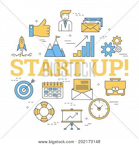 Vector round linear concept of START UP sign and linear icons on white background. Concept of perfect business beginning, teamwork and start of new job