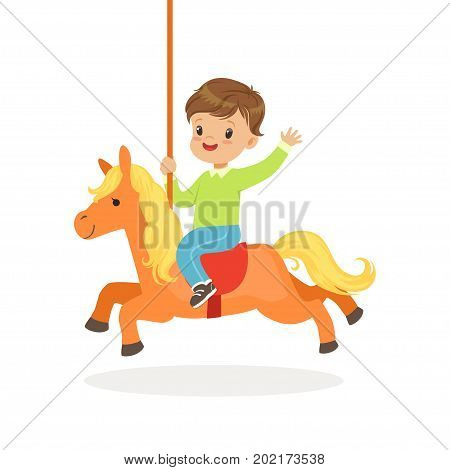 Cute little boy riding on the carousel horse, kid have a fun in amusement park cartoon vector Illustration on a white background