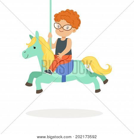 Cute little redhead boy riding on the carousel horse, kid have a fun in amusement park cartoon vector Illustration on a white background
