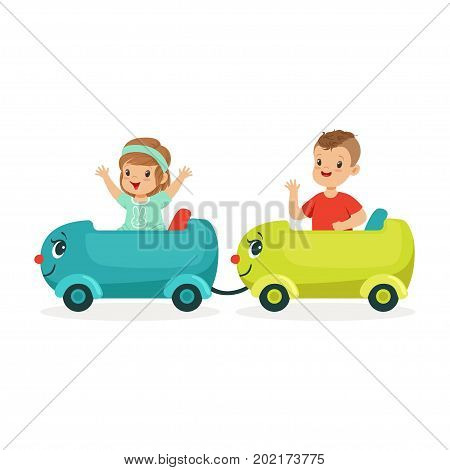 Cute happy little boy and girl riding a train, kid have a fun in amusement park cartoon vector Illustration on a white background