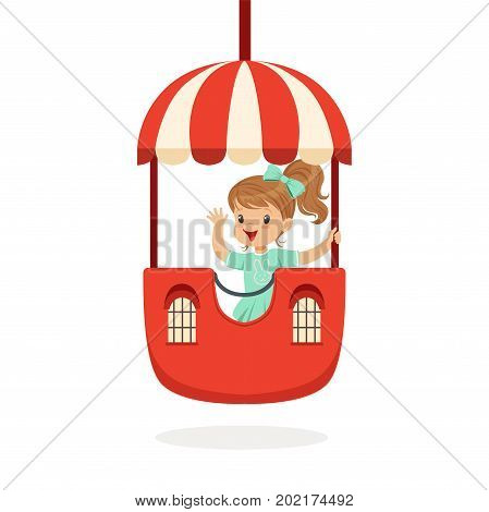 Cute little girl riding a colorful carousel, kid have a fun in amusement park cartoon vector Illustration on a white background