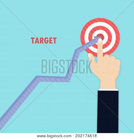 Human hand and growth graph icon on background.Goal achievement.Successful way up to goal.Ambition business.Path chart to target.Businessman to top graph.Aspiration to victory.Concept of the teamwork for successful business.Flat design vector illustration