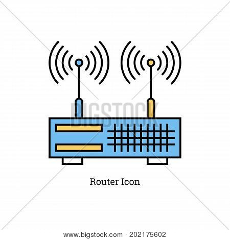 Vector linear isolated icon - Dual antenna router. Blue and yellow colors