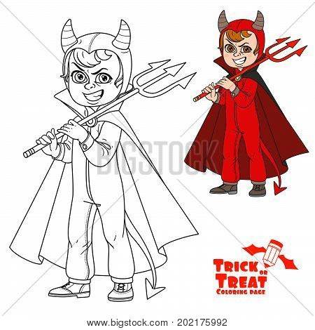 Cute Boy In Overalls Devil Costume With A Trident In His Hand  Trick Or Treat Color And Outlined For