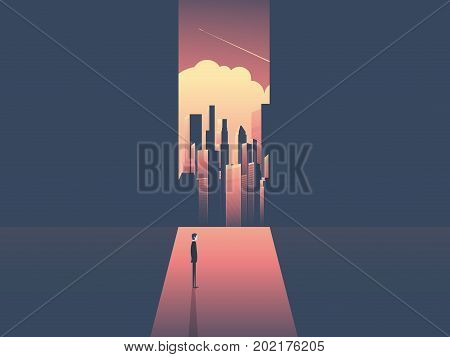 Businessman looking through window at urban skyline. Business ambition, opportunity and corporate world concept vector illustration with cityscape in sunset. Eps10 vector illustration.