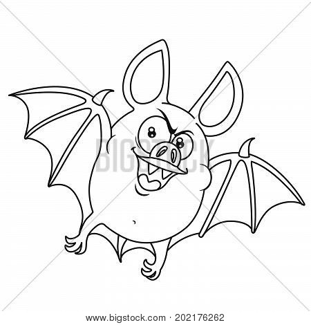 Cute Fat Halloween Bat Flying Outlined For Coloring Page