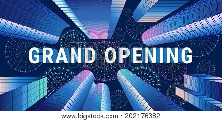 Grand opening vector illustration with sign and abstract background. Template design element for opening ceremony can be used as banner or flyer