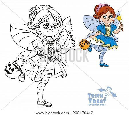 Cute Girl In Fairy Costume Holding A Pumpkin Bag For Sweets  Trick Or Treat Color And Outlined For C