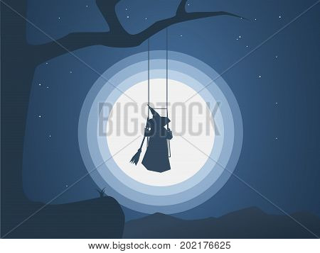 Halloween witch on a swing in front of moon under the tree vector illustration. Halloween
