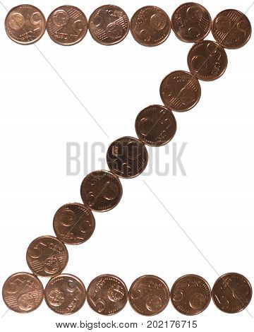 Arial Coin (5 eurocents) alphabet. Uppercase 'Z'