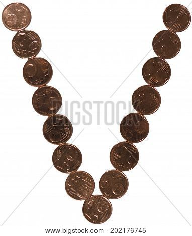 Arial Coin (5 eurocents) alphabet. Uppercase 'V'