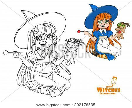 Cute Girl In Witch Costume Sitting On The Floor And Plays With A Voodoo Doll And Big Needle Color An