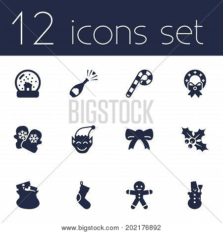 Collection Of Lollipop, Magic Sphere, Gnome And Other Elements.  Set Of 12 New Icons Set.