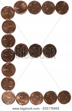 Arial Coin (5 eurocents) alphabet. Uppercase 'E'