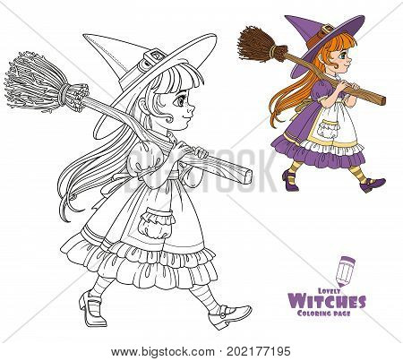 Cute Girl In Witch Suit Goes Forward Holding A Broom For Flights On Her Shoulder Color And Outlined