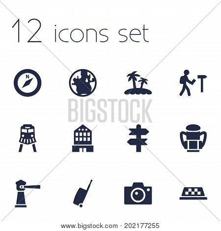 Collection Of Traveler, Baggage, Seamark And Other Elements.  Set Of 12 Travel Icons Set.