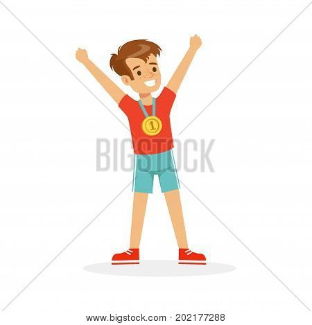 Young happy boy with a first place medal, athletes kid celebrating his golden medal cartoon vector Illustration on a white background