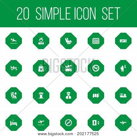Collection Of Data, Airport Transfer, Air Traffic Controller And Other Elements.  Set Of 20 Airplane Icons Set.