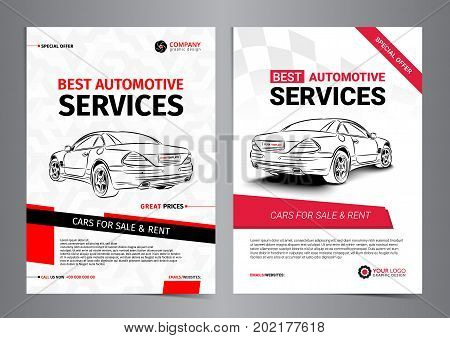 Set of AUTOMOTIVE SERVICES layout templates cars for sale & rent brochure mockup flyer. Vector illustration.