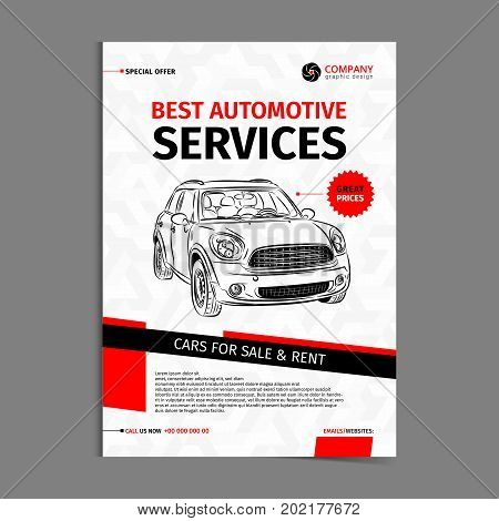 Automotive services layout template cars for sale & rent brochure mockup flyer. Vector illustration.