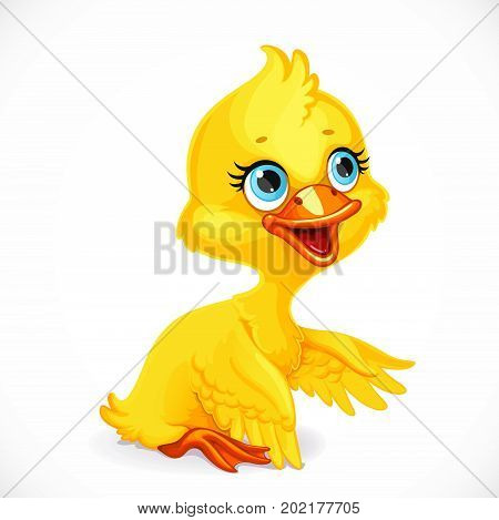 Cute Yellow Duckling Sit On Floor Isolated On White Background