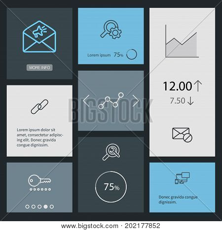 Collection Of SEO Test, Url, Web Design And Other Elements.  Set Of 8 Optimization Outline Icons Set.