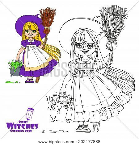 Sweet Girl In Witch Costume Holds A Broom For Flying And Pot Of Bubbling Potions Color And Outlined