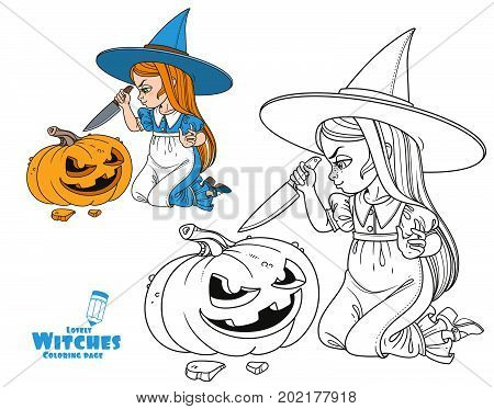 Sweet Girl In Witch Costume Sitting On The Floor With A Knife And Cut The Lantern From A Pumpkin Col