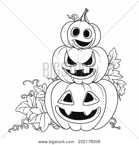 Three Lantern From Pumpkins With The Cut Out Of A Grin Stand One On Another Outlined For Coloring Pa