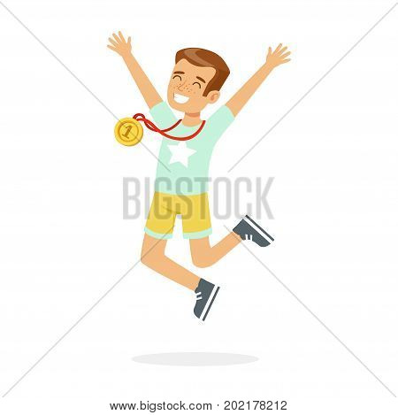 Young happy boy with a first place medal, kid celebrating his golden medal cartoon vector Illustration on a white background