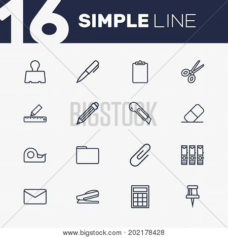 Collection Of Pencil, Drawing, Binder Clip And Other Elements.  Set Of 16 Instruments Outline Icons Set.